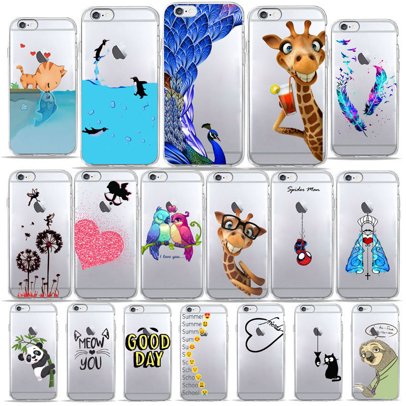 Summer Cute giraffe Gifts Cat deer Animal Patterned Phone <font><b>Case</b></font> for <font><b>iPhone</b></font> 7 4s SE 5 5S 6 6S 7 8 Plus X XS MAX <font><b>XR</b></font> Soft TPU Cover image