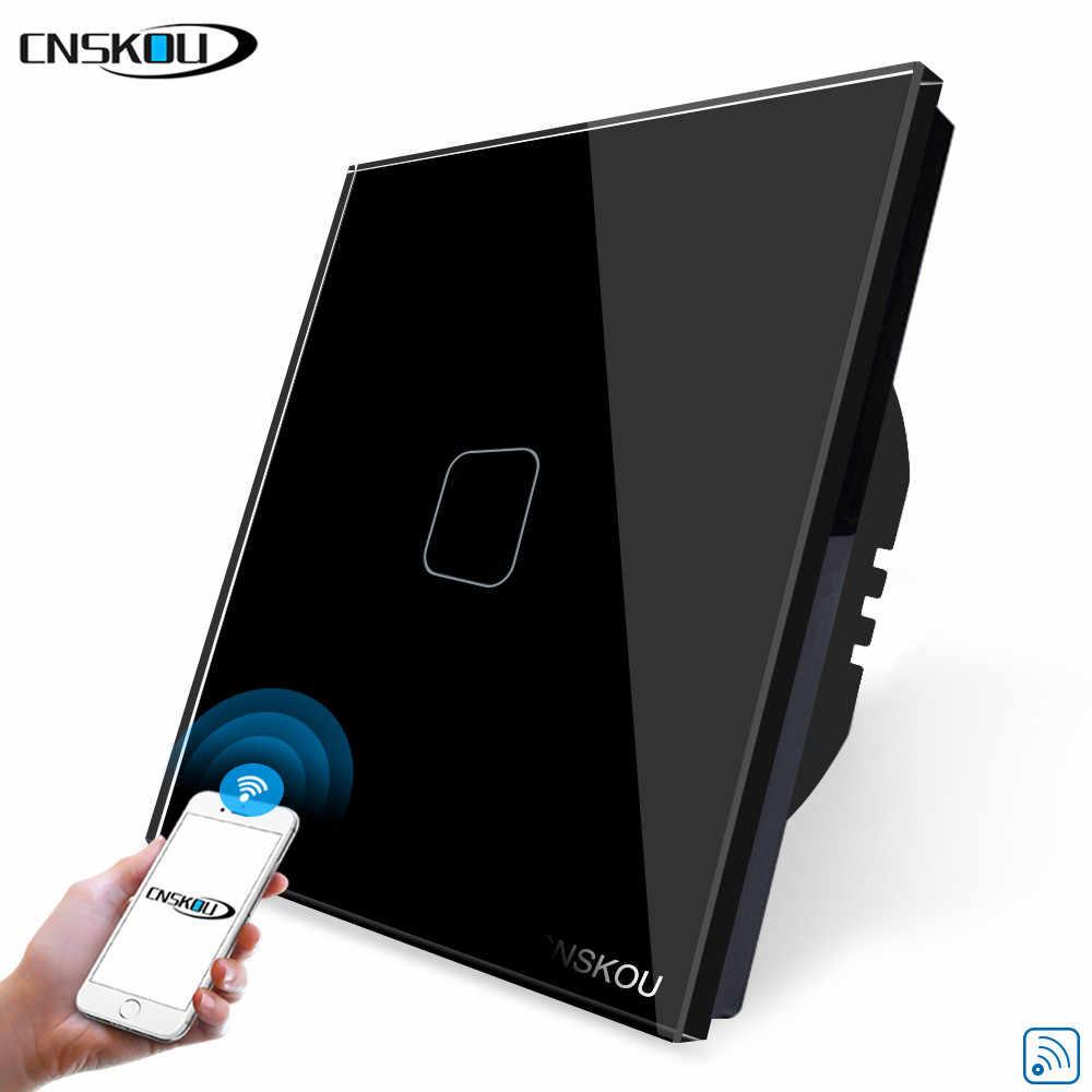 Cnskou Uni Eropa Stanard 1 Gang Smart Rumah Cahaya WIFI Touch Switch Remote Controller DC 220 EU Dinding Layar Sentuh switch