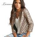Lemon Solid Gold Women Chic Jacket Vogue Lozenge Three Quater sleeve Sequins Outwear Streetwear Casual Slim Basic Coat
