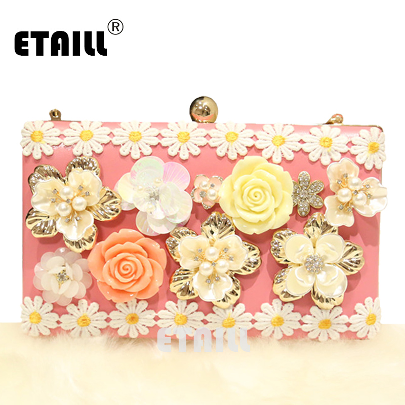 ETAILL Pink Handmade Pearl Flower Luxury Designer Brand Evening Bag Lace Florals Clutch Bag Handbags with Rhinestones Pupochette stylish rhinestones faux pearl lace flower shape embellished baseball cap for women