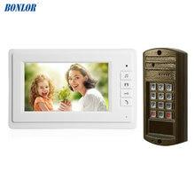 цена на 1Set Hot sale Smart home door bell 7 inch LCD monitor wire Video door phone security alarm Door access intercom system talk-back