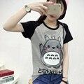2017 Primavera Verão Bonito Totoro T Shirt Mulher de Manga Curta camisetas Mulheres Plus Size Gráfico Camiseta Femme anime Japonês Tshirt