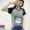2017 de Primavera y Verano Lindo Totoro Camiseta Mujer Manga Corta camisetas Talles para Las Mujeres Graphic Tee Shirt Femme anime Japonés camiseta