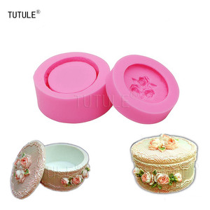 Image 1 - Gadgets   DIY Round shape Flower Storage  Silicone Mold Fondant Ceramic Clay Resin mould Pastoral style jewelry box mould