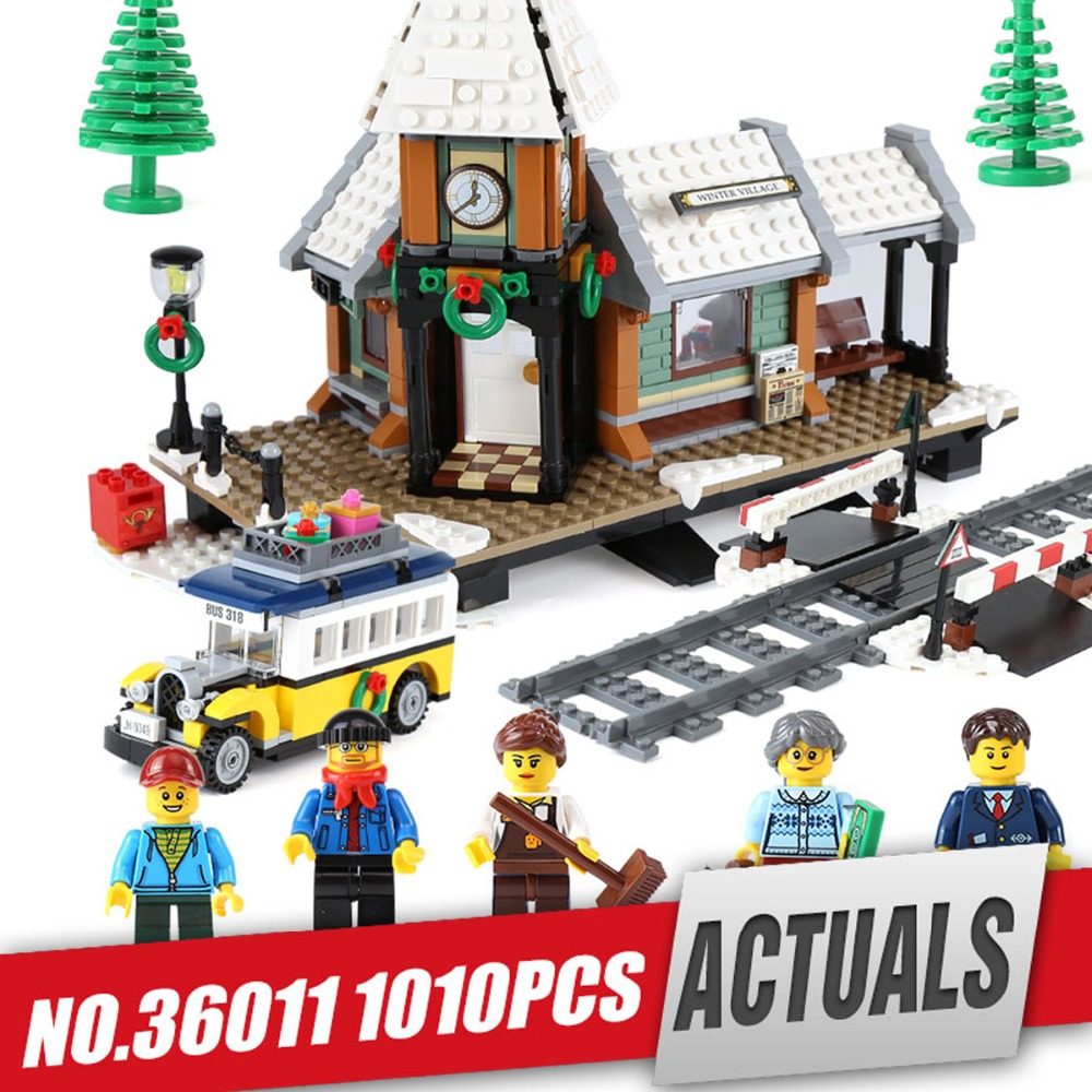 Lepin 36011 Creator series The Winter Village Station Model Building Blocks Compatible legoing 10259 classic architecture Toy lepin 36011 creative series 1010pcs legoinglys village station model sets building nano block bricks toys diy for boy girls