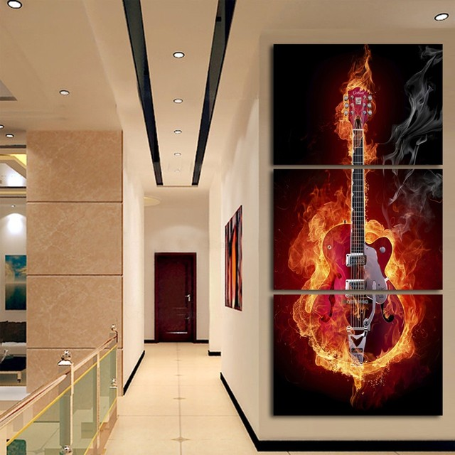Painting A Hallway aliexpress : buy 3 piece abstract flaming guitar music band