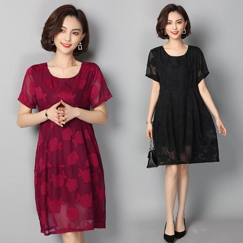 5XL robe en mousseline de soie femmes 2019 nouvelles robes d'été à manches courtes o-cou moulante femmes robe grande taille tenue décontractée adolescente