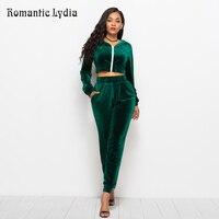 2018 Velour Suit Women 2 Piece Set Top and Pants Casual Velvet Tracksuits Velours Suits Femme Plus Size