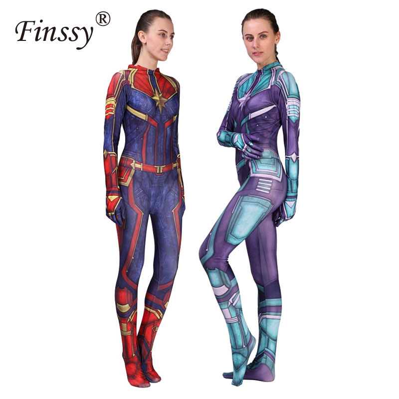 New 3D Women Girls Movie Version Captain Marvels Carol Danvers Cosplay Costume Zentai Superhero Bodysuit Suit Jumpsuits