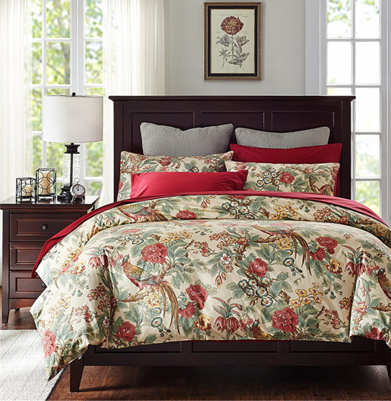 New American Style Vintage Bedding Set Rich Bird Print Satin 100 Cotton Duvet Cover Wrinkle Red Bed Sheet Skirt In Sets From Home
