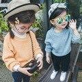 Nova Outono Bebê Camisola Dos Miúdos das Crianças do Bebê Simplesmente Pure Color Estilo Sweaters Pulôver Do Vintage Bebê Infantil Meninas Roupas Tops