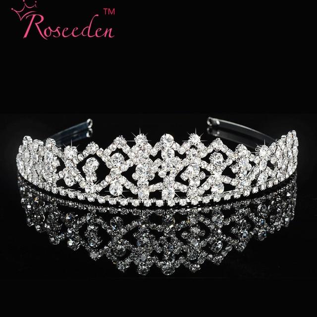 Мода корейский прозрачные кристалл невесты тиара корона свадебные аксессуары горный хрусталь волос ювелирных посеребренные RE102