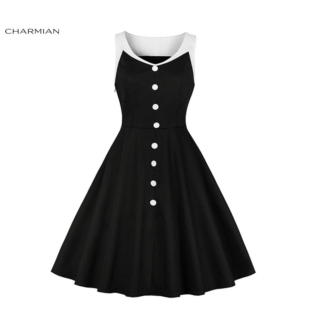 Charmian Women's Vintage Black and White Patchwork V Neckline Sleeveless High Waist Midi Dress