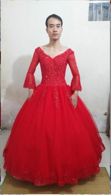 2016 neue designer ballkleid roten hochzeitskleid spitze appliques 3 ...