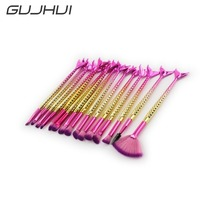 15Pcs Professional Mermaid Makeup Brushes Sets Cosmetics Powder Foundation Concealer Blending Eye Make Up Brush Tool