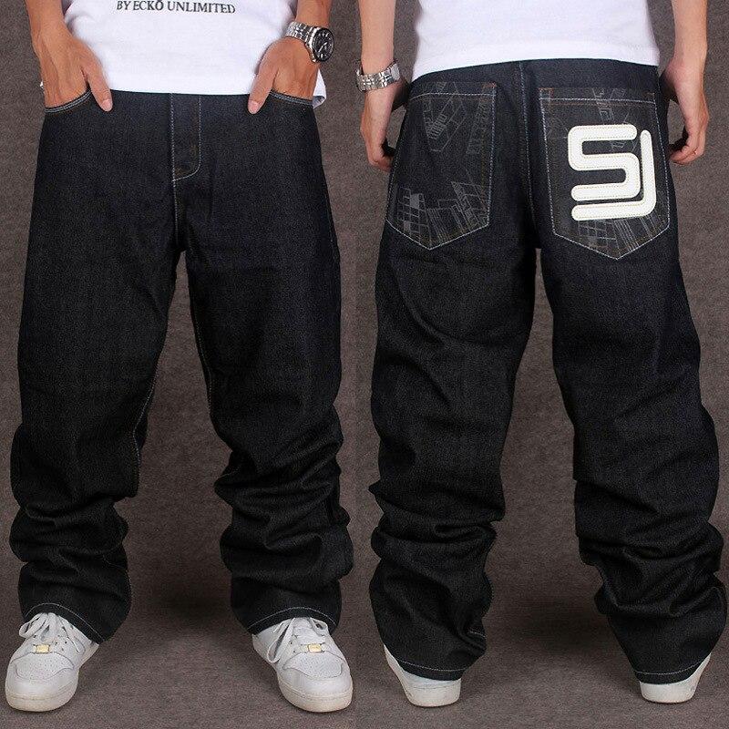 Mens Hip-Hop Jeans Loose Dance Denim Rock Baggy Skateboard Casual Pants