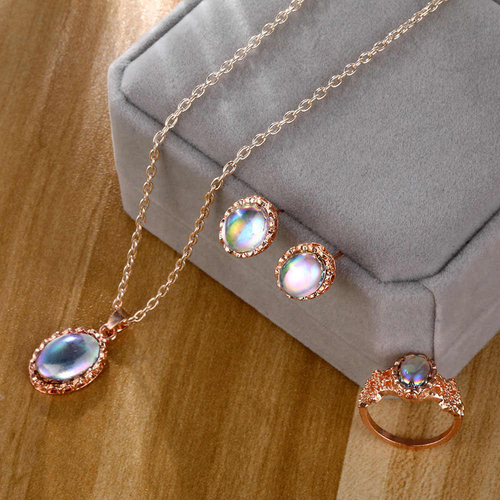 Women's special pendant necklace earrings ring female jewelry color stone jewelry set