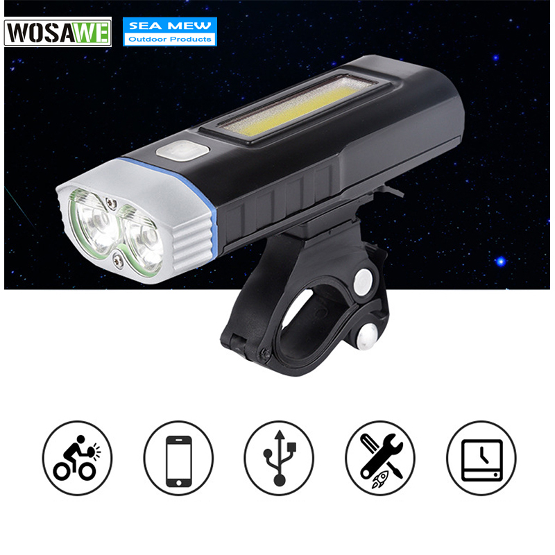 WOSAWE USB Bike Accessories Rechargeable Bicycle Lights Handlebar Cycling LED Light 18650 Battery Flashlight Torch Front Lamp top mini usb rechargeable bike light front handlebar cycling led lights battery 18650 flashlight torch bicycle accessories