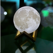 Creative 3D Moon Night Light 2 Color Change Table Lamp Touch Switch LED Fixtures Bedroom Home New Year Christmas Decor Luminaria