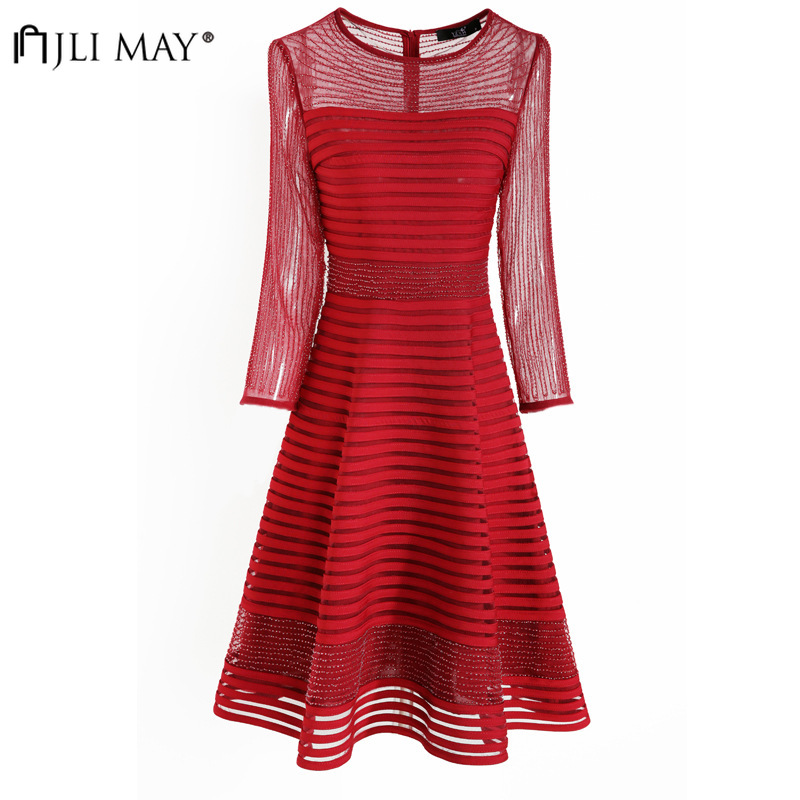 JLI MAY perles rayé maille robe de soirée femmes Sexy formelle soirée élégante dames robes Mini a-ligne 3/4 manches solide grande taille