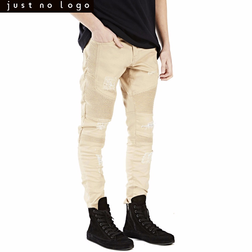 Mens Khaki Skinny Ripped Biker Jeans Straight Tapered Destroyed Hole Slim Fit Denim Pants for Men Party Streetwear Trouser represent clothing designer pants slp destroyed mens slim denim straight skinny biker jeans men slim fit ripped jeans 1376 7 8