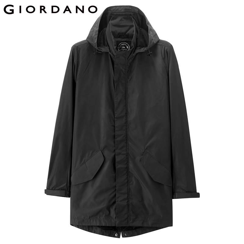 Giordano Men Jacket Stand Collar Detachable Hood Elastic Drawstring Jackets Men Medium Long Pockets Coat Hombre Winter Jacket-in Jackets from Men's Clothing    2
