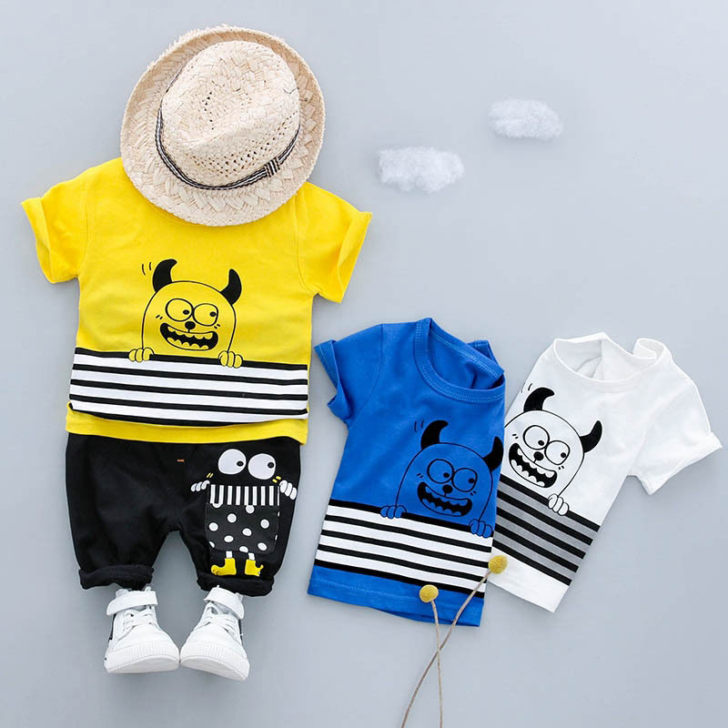 Summer Sports Cotton Outfits baby Boys Suit T-Shirt Top+Pant Short Sleeve Infant Clothing Casual Newborn Cow Cartoon Set Cloth