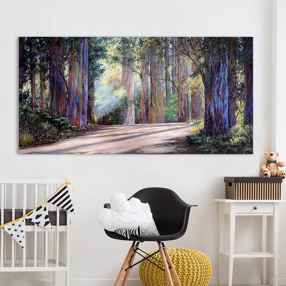 HDARTISAN Wall Art Canvas Printed Oil Painting For Living Room Road In Forest Landscape Picture Home Decor No Frame