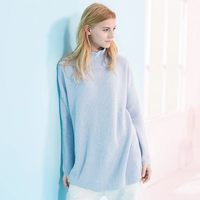 100 Cashmere Sweater Women Blue Thick Girl S Sweaters Long Loose Gray Pink White Winter Warm