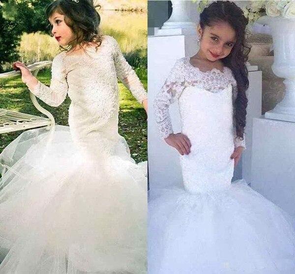2019 sirène fleur fille robes pour mariage trompette dentelle manches longues enfants Communion robe pour enfants fille vestido daminha