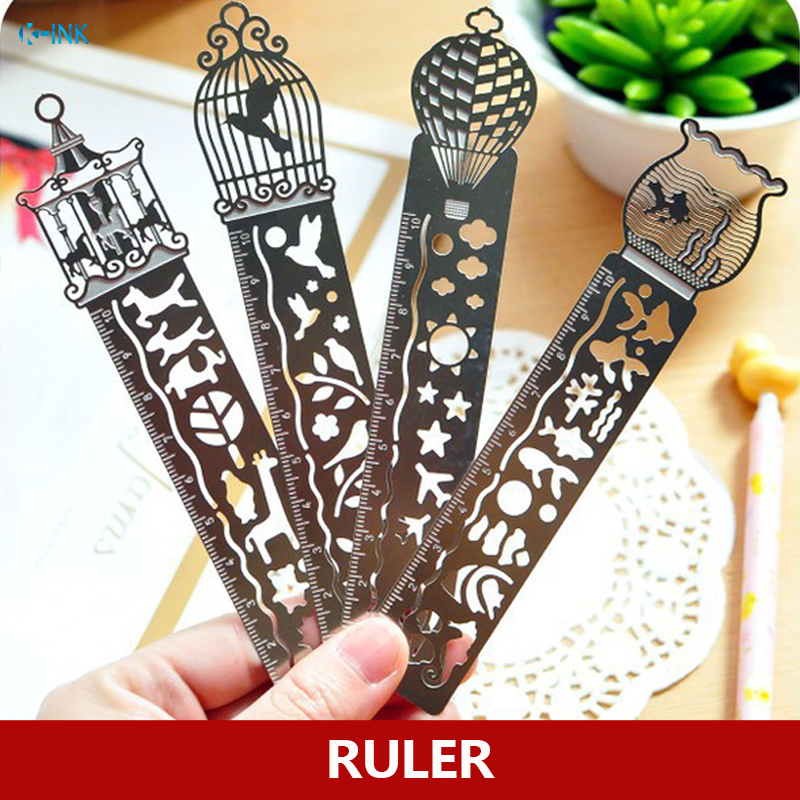 20pcs/lot Balloon / Fish / Bird / Merry-go-round Metal Stencil Ruler For Kids Drawing , Bookmark Ruler