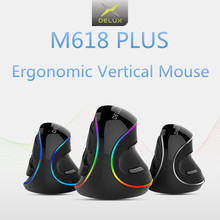 цена на Delux M618 PLUS RGB Vertical Mouse Gaming Wired Ergonomics Mice Wireless 6 Buttons 4000 DPI Optical Right Hand For PC Laptop