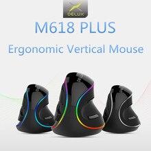 Delux ratón Vertical M618 PLUS para juegos, Mouse ergonómico con cable, inalámbrico, 6 botones, 4000 DPI, mano derecha óptica para PC y portátil