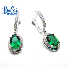 Bolaijewelry,Created green emerald  earring oval 6*8mm 925 sterling silver fine jewelry for women best gift