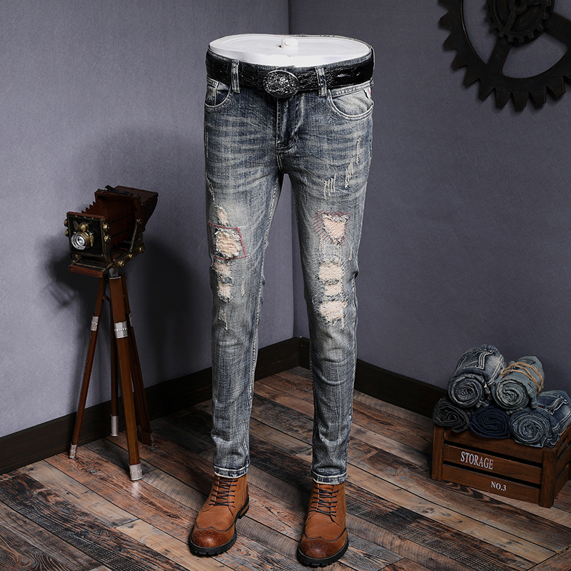 2018 Sale Real Fake Designer Clothes Jeans Men Mens Pants Jeans Beggars Trousers Body Small Elastic Straight Embroidered Punks