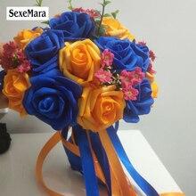 Royal Blu/Colorato Arancione PE Rosa Damigella Donore di Cerimonia Nuziale fiori di Schiuma Rosa bouquet Da Sposa Nastro bouquet Da Sposa de noiva