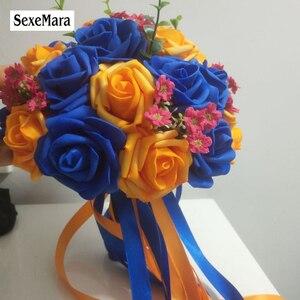 Image 1 - Royal Blu/Colorato Arancione PE Rosa Damigella Donore di Cerimonia Nuziale fiori di Schiuma Rosa bouquet Da Sposa Nastro bouquet Da Sposa de noiva