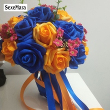 Royal Blue / Stained Orange PE Rose Bridesmaid Wedding Foam flowers Rose Bridal bouquet Ribbon  Wedding bouquet de noiva