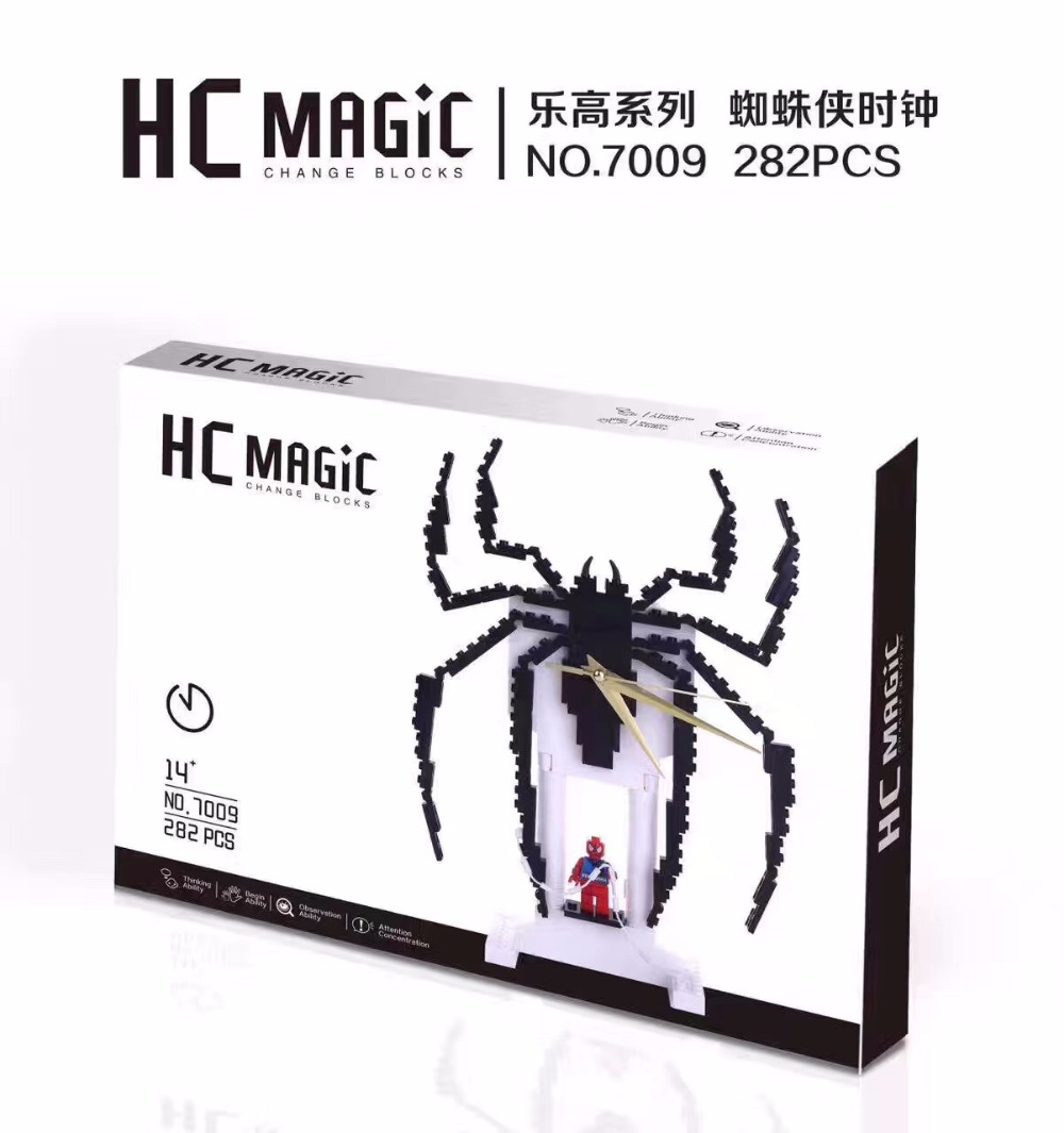HC Magic Blocks Creative Clock Blocks Spider Man Black Spider Micro Blocks DIY Building Toys Auction Model Toy Kids Gifts HC7009 hc big size super mario micro blocks stitch micro blocks diy building toys cute cartoon juguetes auction figures kids gifts 9003