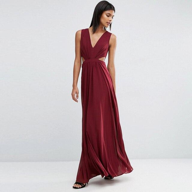 Burgundy Prom Dresses Elegant Women Vestidos V Neck A Line Dress Long  Evening Gowns Sexy Chiffon Girl Prom Party Dresses RP05 cc1f3879b989