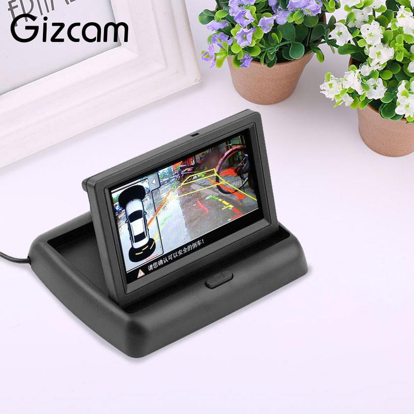 Gizcam Portable Mini 4.3 inch LCD TFT Foldable Monitor Clear Portable For Car Rearview Paking Camera Micro Camera