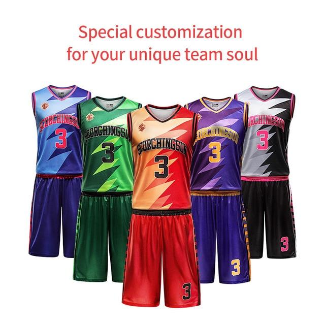 870c9ddb284 Free Custom sublimation Team basketball jersey Men basketball suit Set 100%  Polyester DIY Name Number