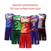 Free Custom sublimation Team basketball jersey Men basketball suit Set 100% Polyester DIY Name Number Logol basketball uniform