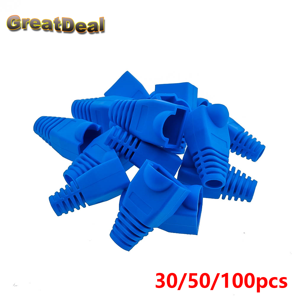 50 / 100x 8Pin Conector RJ45 Cat. 5 5e 6 RJ45 Enchufe Cable Ethernet Red Cable Alivio de tensión Arranque RJ45 Enchufe de zócalo azul HY202