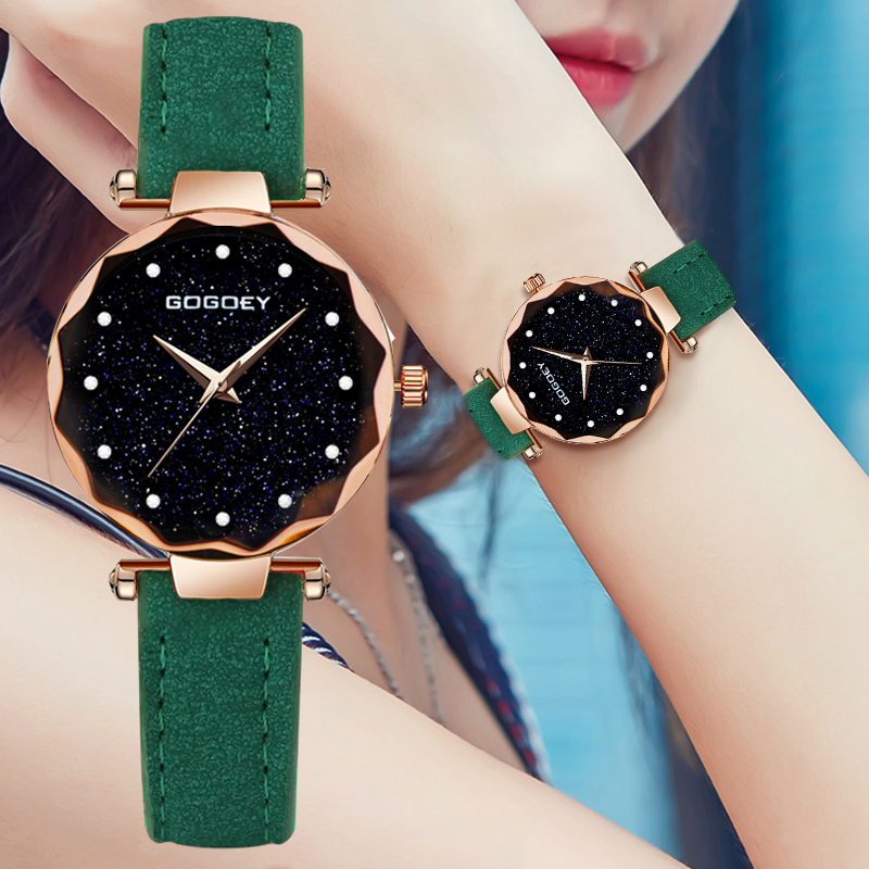 2018 Luxury Brand Gogoey Women Watches Personality romantic starry sky Wrist Watch Leather Rhinestone Designer Ladies Clock