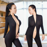 2017 New Sexy Lingerie For Women Black Sheer Bodystocking Bodysuit Smooth Soft Fiber Double Zipper Long