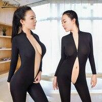 2017 Nueva Ropa Interior Atractiva para Las Mujeres Negro Puro Bodystocking Mono Suave de Fibra de Doble Cremallera de Manga Larga con Cuello Alto