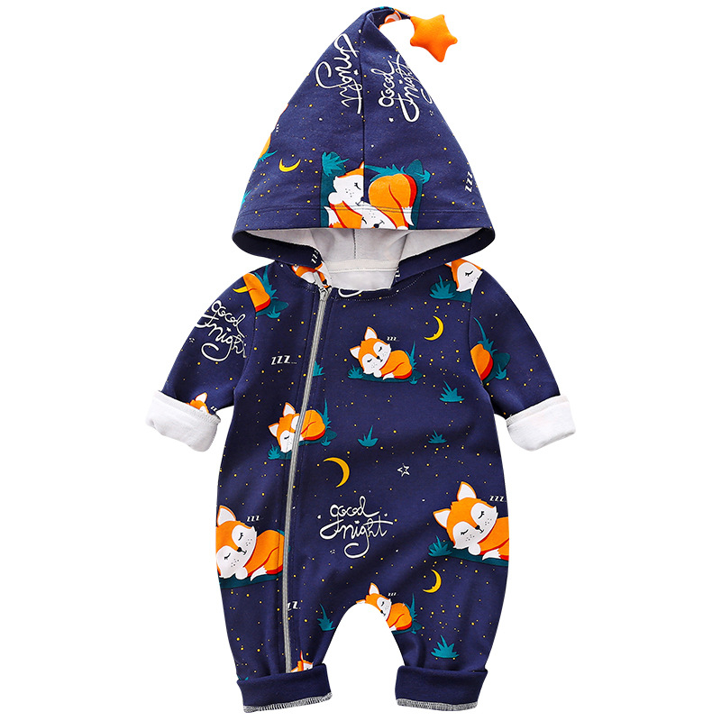 Newborn Baby   Rompers   Boys Long Sleeves Hooded Fox Print   Romper   Jumpsuit Autumn Cotton   Romper   Kids Clothes Outfits