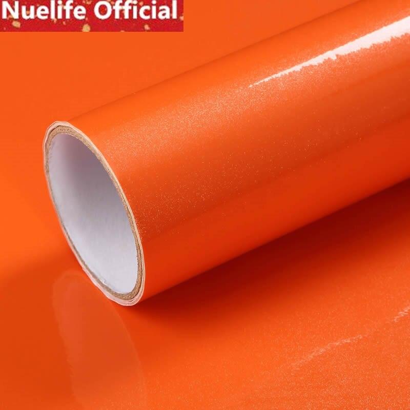 0.6x5m Thicken paint craft furniture renovation stickers cabinet kitchen bathroom bright orange waterproof self adhesive paper