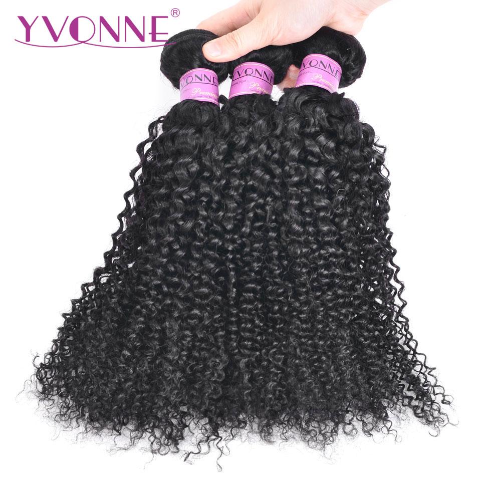 Yvonne crépus bouclés brésiliens Remy cheveux faisceaux de cheveux humains armure couleur naturelle